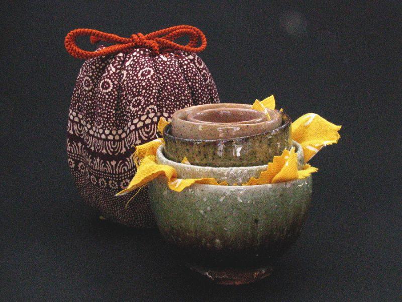 Karatsu nested 5 sake cups by Dohei Fujinoki  popular artist Karatsu