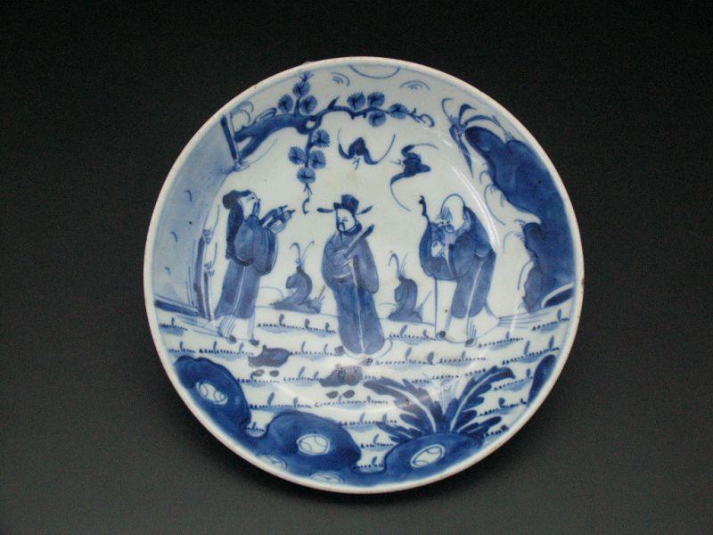 18th century Qing Kangxi Blue & white Flushou picture plate