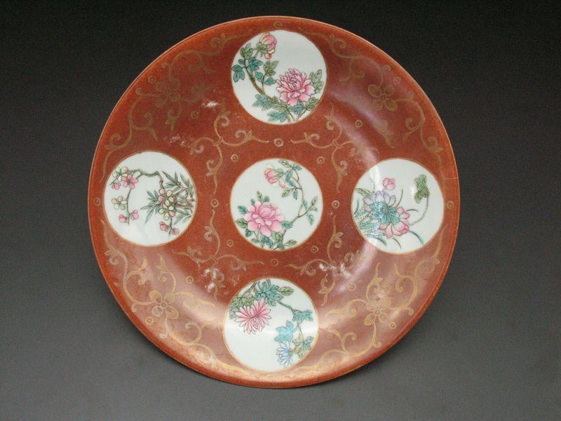 18th century Qing Qianlong(乾隆) Famille rose(粉彩) flower pattern plate