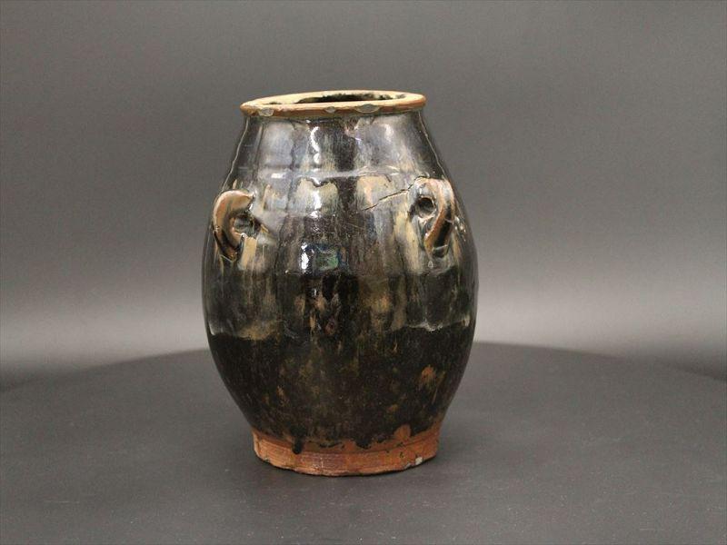 14th century Yuan dynasty Henan black glaze jar with 4 handles