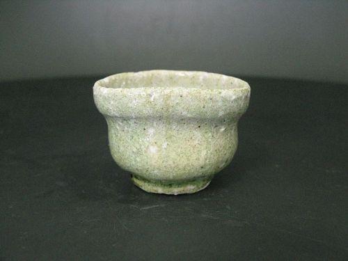 Karatsu ashes covered sake cup by popular potter Dohei Fujinoki