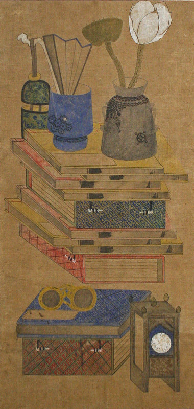 Warm and Colorful Chaekgeori Painting of Scholar's Items
