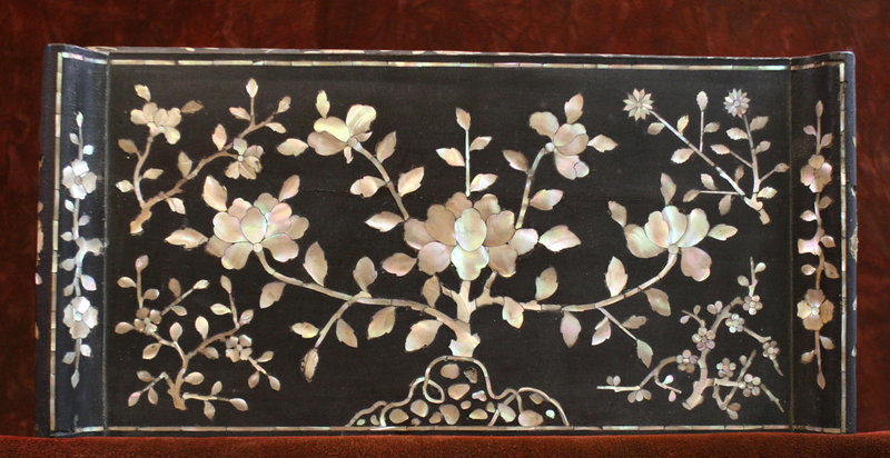 Black Lacquered Mother of Pearl Table
