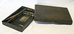 Korean Antique Compartmented Inkstone Box and Old Brush