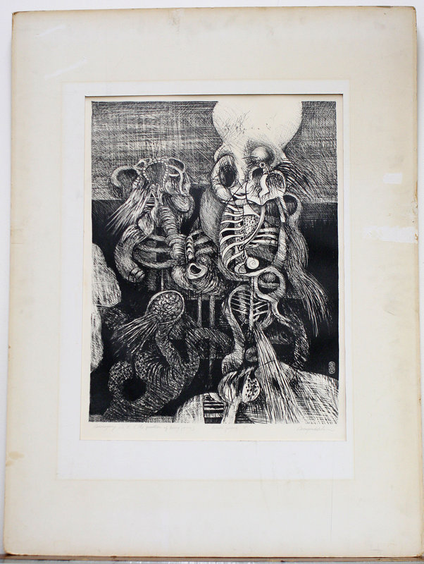 Lithograph by Don Ahn, with original 1965 gallery label