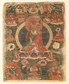 Early 18th Century Bhutanese Thangka of Padmasambhava