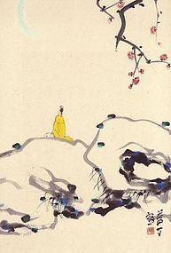 Park No Soo 1927-2013 Painting of Scholar Under Moonlit Plum Blossoms