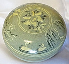 Very Fine and Rare Korean Goryeo Dynasty Inlaid Celadon Cosmetic Box