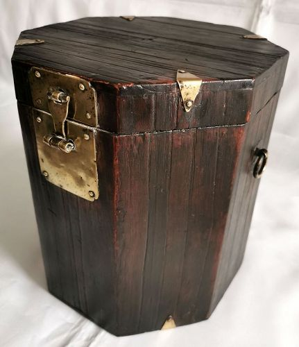 One-of-a-kind 19th C. Korean Hat Box entirely of Exotic Paulownia Wood
