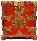 Red Lacquered Korean Safe with Beautiful Auspicious Metalwork