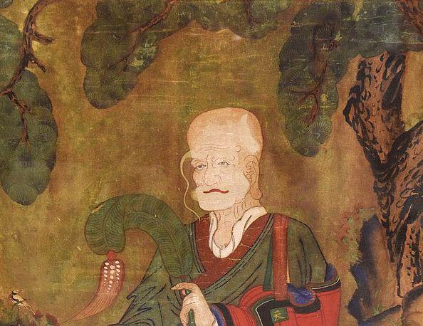 Pair of 19th Century Paintings of Mountain Spirit and Hermit Saint