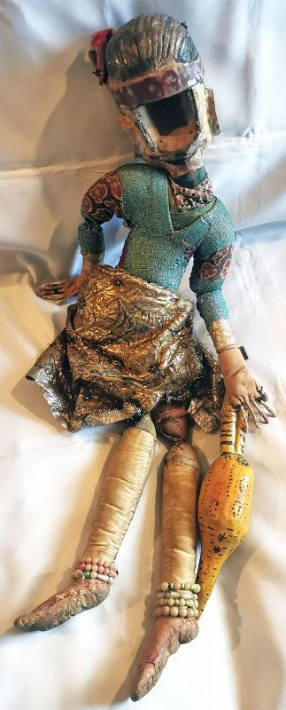 Fine, Large Antique Indian Puppet Beautifully Adorned and Accessorized