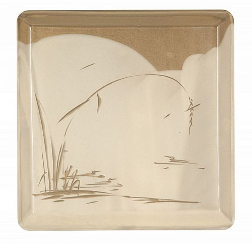 Pond with Geese and Reeds, Square Plate Buncheong by Choi Sung Jae