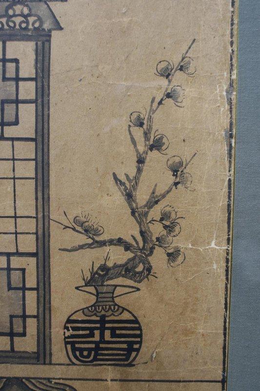Rare Antique Korean Ancestor Spirit Shrine Painting