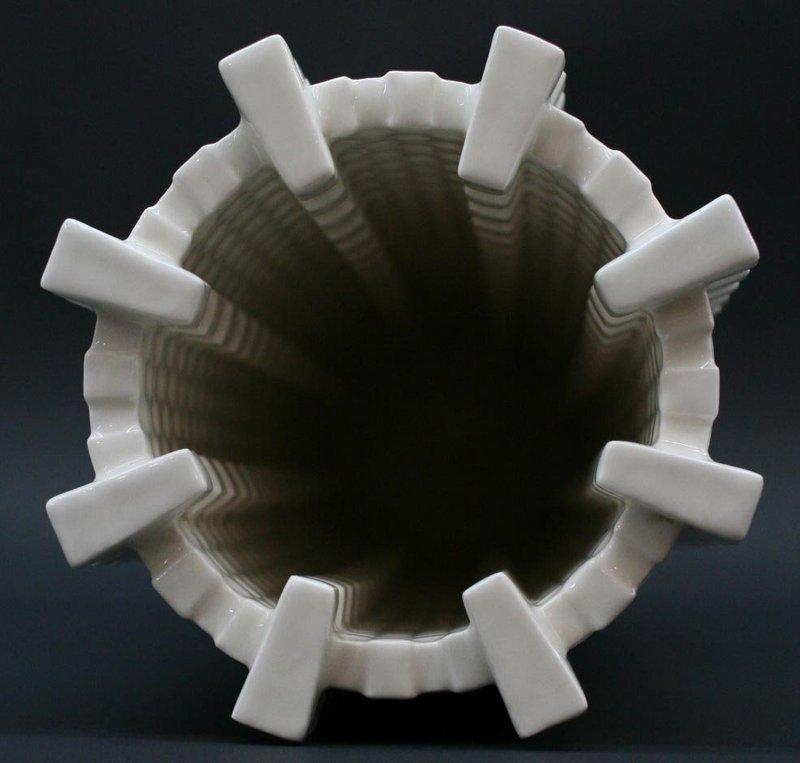 Porcelain Cube Tower Vase by Lee Min Kyu