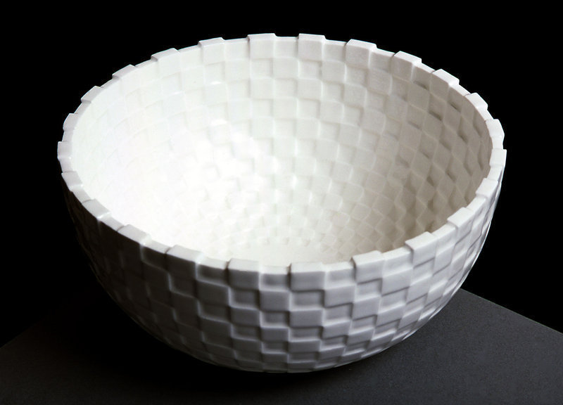 Porcelain Cube Bowl by Lee Min Kyu