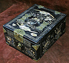 Black Lacquer with Mother of Pearl Inlay Mirror Box