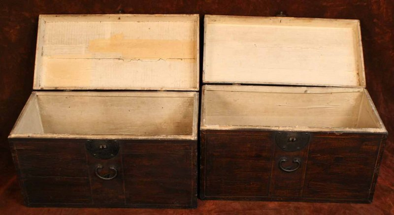 Perfect Pair of Old Oiled Paper on Wood Wedding Chests