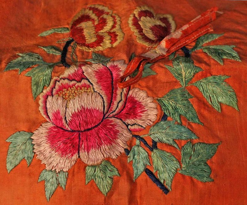 Old Embroidered Floral Bojagi with Oiled Paper Lining