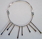 Solid Modernist Sterling Silver Statement Necklace
