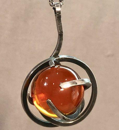 Paul Lobel Glass Sphere Sterling Modernist Pendant