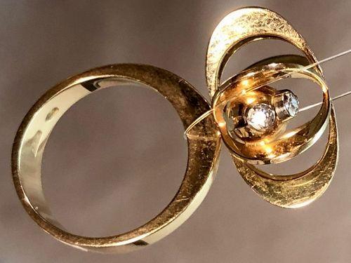 Elis Kauppi Kupittaank Kulta 14K Gold Atomic Diamond Ring