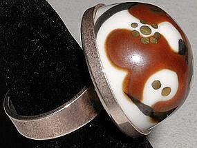 Oversized Porsgrund Norwegian Porcelain Ring