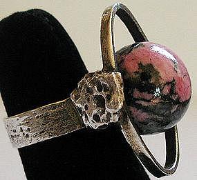 Primitive Modernist Rhodonite Sphere Ring