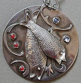 Silver Modernist Pisces Moonstone & Carnelian Necklace