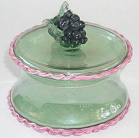 Early Murano Barovier Iridescent Covered Box w/ Grapes