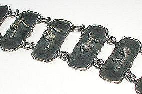 Unusual Primitive Silver Silver Figural Bracelet