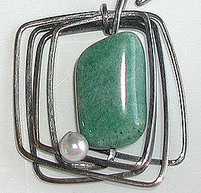 Unique Rebajes Sterling Pearl & Stone Necklace / Chain