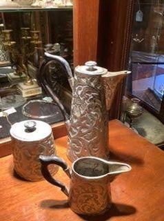 European German late 18th century Silver Coffee Set Repoussé