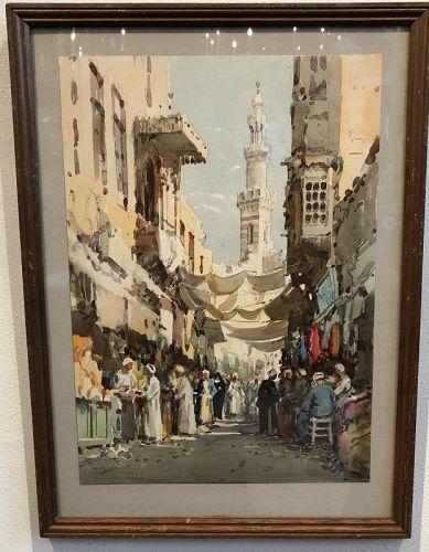 Cairo Bazaar by D. Hidayet,Turkish Artist