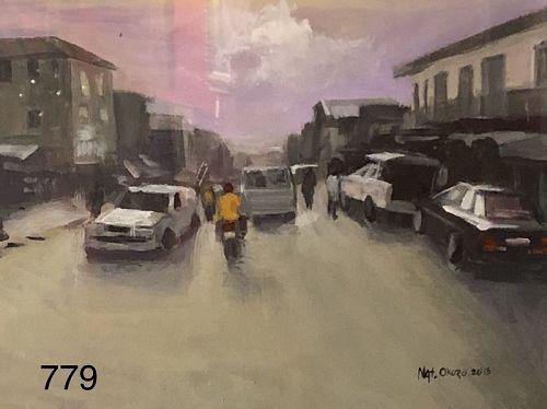 Nigerian Street Scene Oil Painting by OKUZO