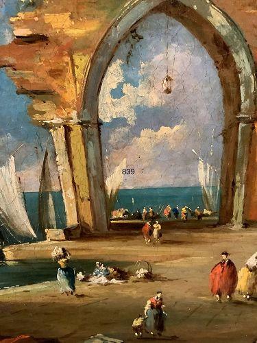 Giovanni Paola Panini Pair 17th Century Panini Venetian Oil Paintings