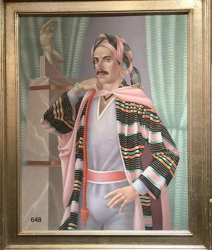Portrait of a Mogul Gentleman in oil on canvas