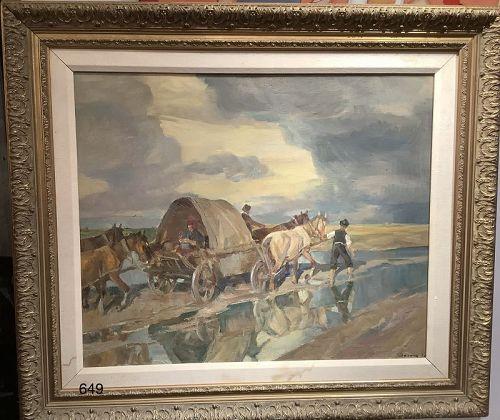 Haliian signed Oil Painting of a Caravan of Roma Gypsies