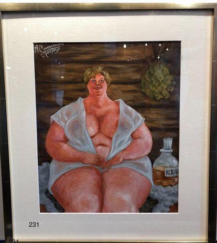 Sinochkin, Russian painter,Nude in a Dacha