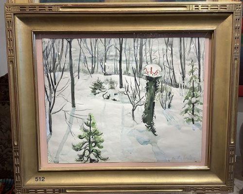 Martha Walter �Snow Garden� watercolor