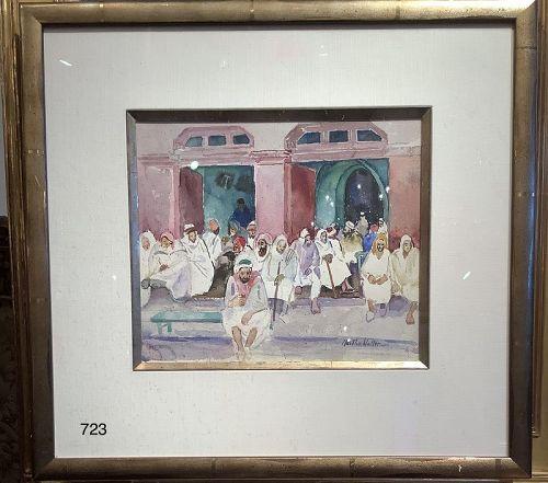 Martha Walter watercolor Middle Eastern Scene, Moroccan