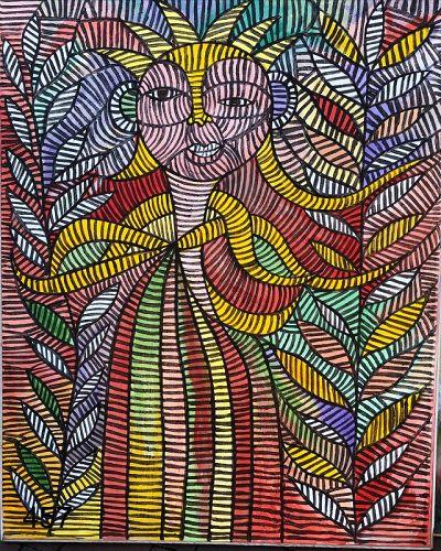 Geometric Abstraction Oil by Ivory Coast Painter Ephreme Kouakou