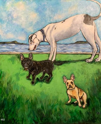 Anne Lane Trio of Canine at a lake, oil on canvas