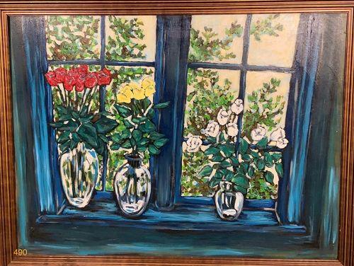 Window with Flower pots, by Anne Lane