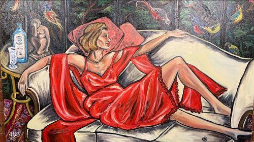 Woman in Red Négligée by Anne Lane