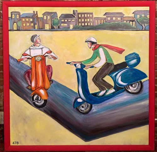 Vespa Couple from the Famous Vespa Series by Anne Lane