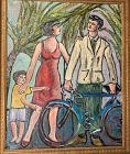 Couple with Child, or Bike Family by Anne Lane