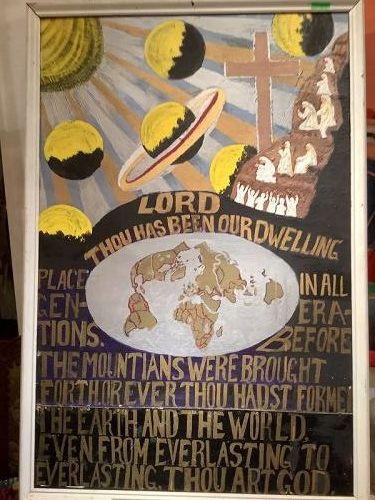 Julien L.Crump Philadelphia Outsider Art biblical Scene mix media