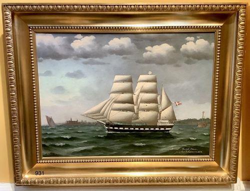 Danish Artist Jorgen Dahl 1825-1890 Rigged Sailing Ship Oil dated 1874