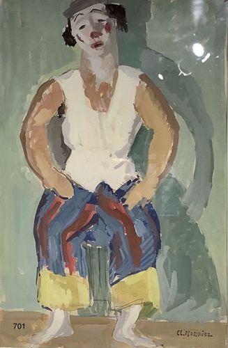 Swiss Artist Claire LiseMonnier 1894-1978,Rare work oil on Paper